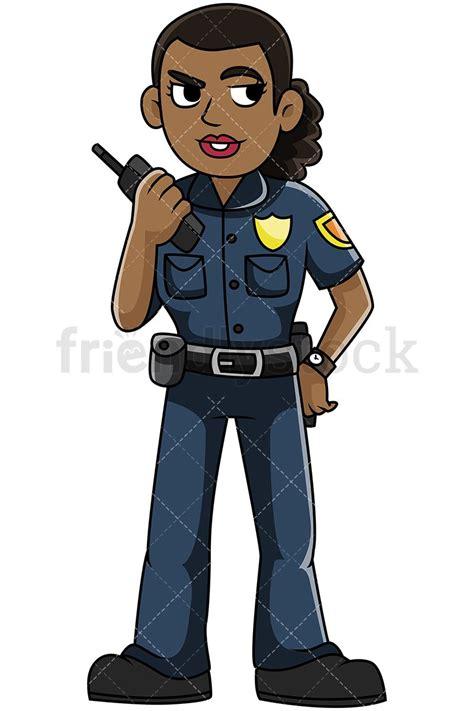 Dib Full Form In Police by Black Policewoman Talking On Radio Vector Cartoon Clipart