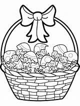 Easter Basket Coloring Pages Silhouettes Printable Baskets Silhouette sketch template