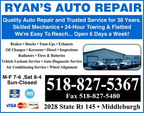 ryans auto repair middleburgh ny  yellowbook