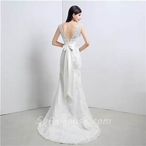 graceful mermaid v back cap sleeve venice lace wedding With wedding dress with bow in back