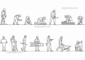 Workers In Hard Hats DWG, Free CAD Blocks Download