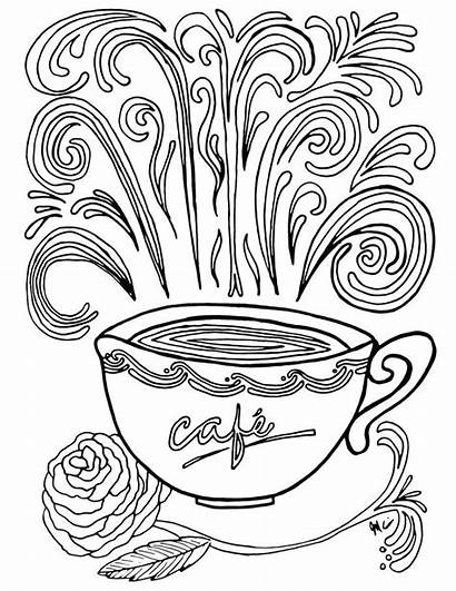 Coffee Coloring Pages Printable Adult Complex Theme