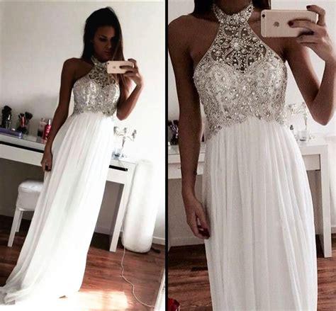 White Bling Bling Beaded Crystal Prom Party Dresses 2015 ...