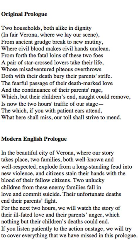 prologue of romeo and juliet translation in modern lesson transcript study