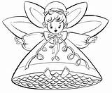 Coloring Christmas Angels Printable Pages Fairy Retro sketch template