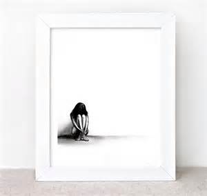 Rain Lonely Girl Drawing