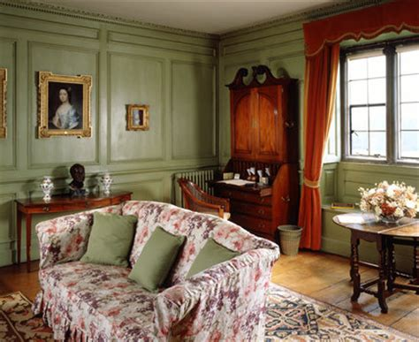 lady vernons sitting room decorated  cool green sage