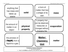 vocabulary dominoes chemistry matter unit  purplepanda