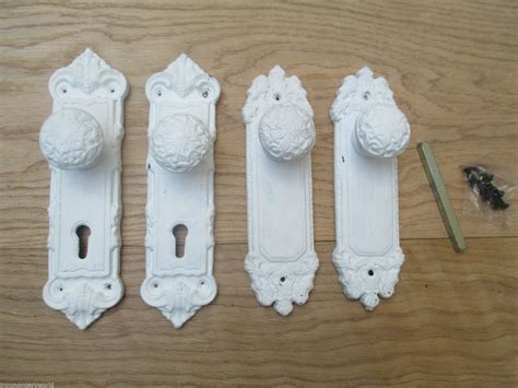 shabby chic door handles white patina distressed sprung cast iron shabby chic lever door handle knobs on back plate