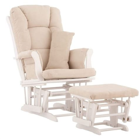 glider chair and ottoman glider and ottoman in white with beige cushions 06554 511