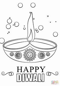 Diwali Candle coloring page Free Printable Coloring Pages