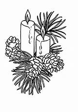 Christmas Candle Coloring Pages Decorated Fruits Pine Print sketch template