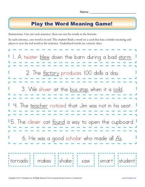 Reading Comprehension Games 3rd Grade Printable Context