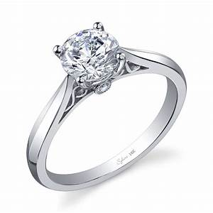 modern round center peekaboo bezel diamond engagement ring With wedding rings albuquerque