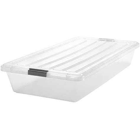 storage container with lid iris clear underbed storage container in bed storage