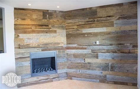 Reclaimed Oak Mantle and Tobacco Barn Wood Wall Covering