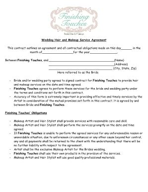 makeup artist contract form makeup agreement form fill online printable fillable