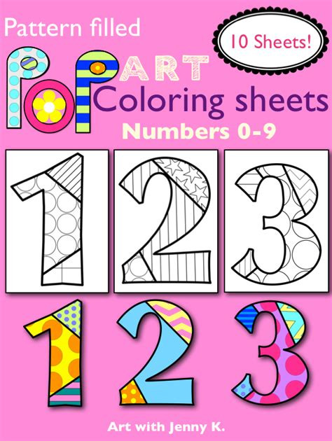 "Patternfilled ""pop Art"" Numbers Coloring Sheets What Hip"