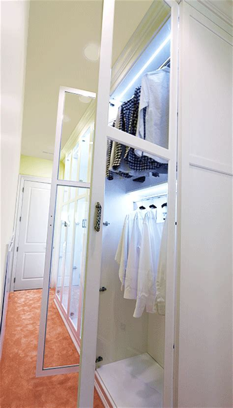 Dressing Room with Custom Closet Lighting Options and