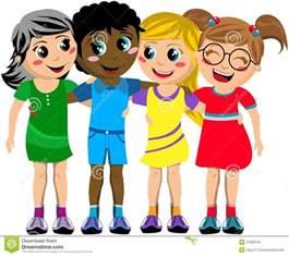 Group Friends Hugging Cartoon