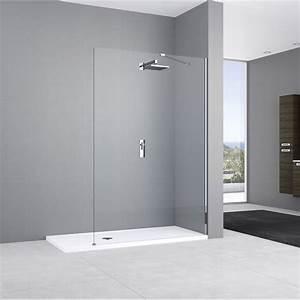 Paroi de douche a l39italienne l80 cm verre transparent 8 for Porte de douche coulissante avec plan de travail pour poser vasque salle de bain