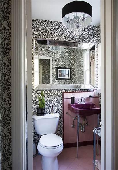 Pink Tile Powder Bathroom Chandelier Lonny Traditional