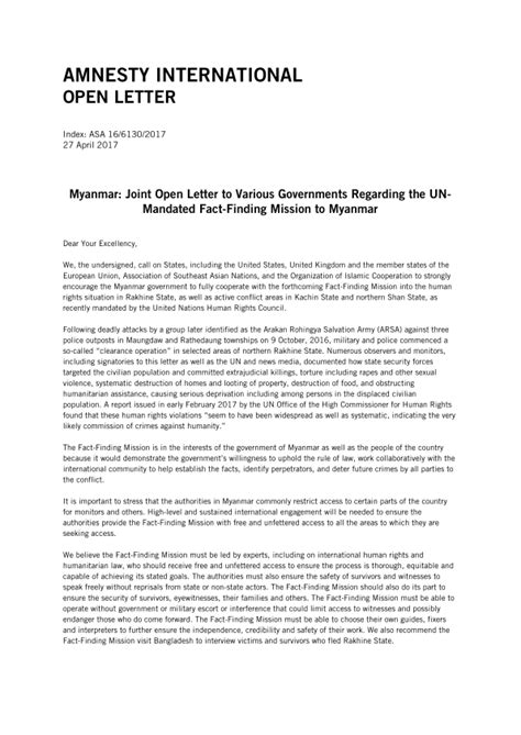 Myanmar: Joint Open Letter to Various Governments