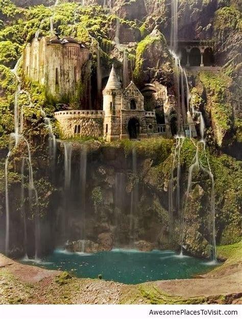 waterfall castle  enchanted wood poland amazing