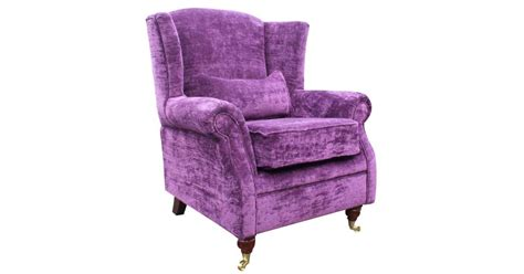 Wing Chair Fireside High Back Armchair Velluto Amethyst