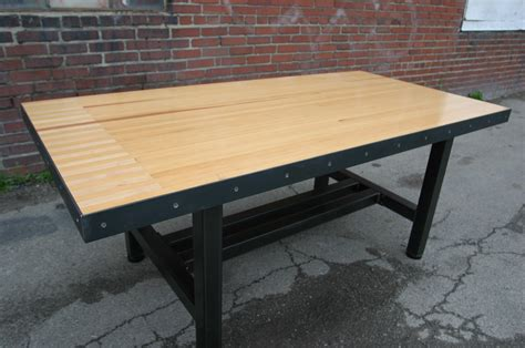 Industrial Wood Flooring by Bowling Alley Chamberlin Dining Table