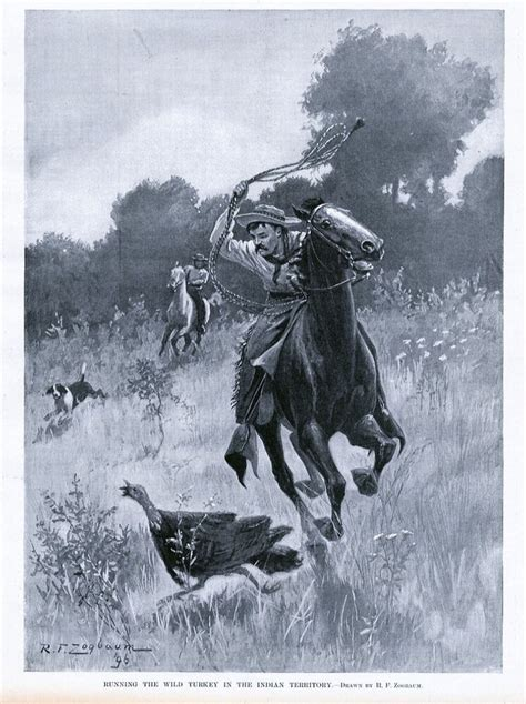wild turkey horses running indian dog territory lasoo hunt hunting prints