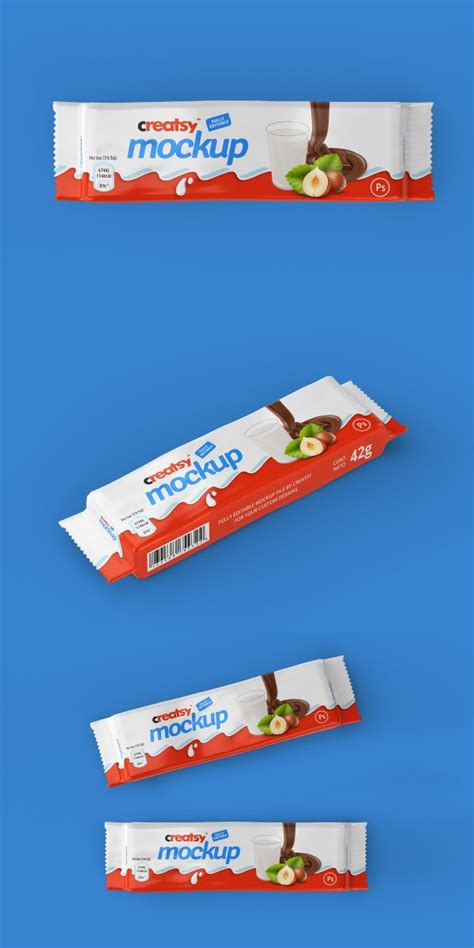 Via smart objects, you can easily customize and change any mockup element. Chocolate Bar Package Mockup Bundle - Mockup Love