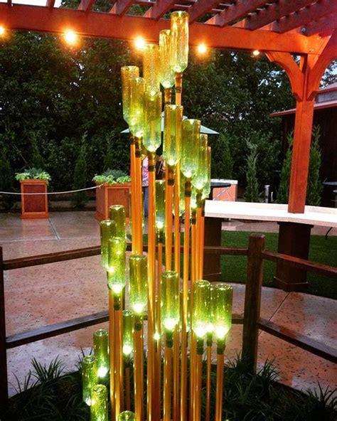 ideas    enhance  garden  glass bottles