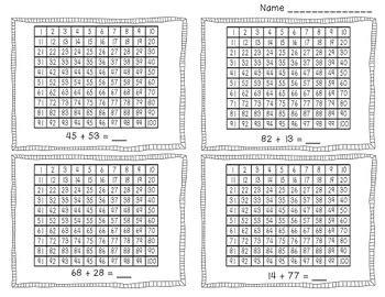 adding  digit numbers   hundreds chart  mandy