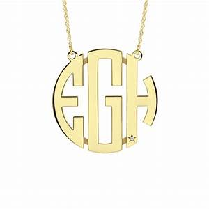 diamond accent block monogram necklace With block monogram