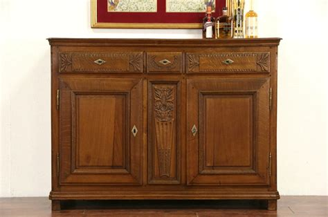 sold country french  antique oak server sideboard  buffet harp gallery