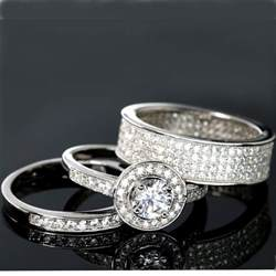titanium wedding ring sets wedding rings 3 halo engagement bridal cz 925 sterling silver matching set ebay
