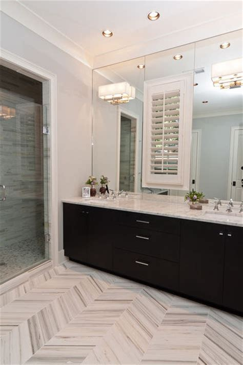 Houzz Bathroom Designs by Herringbone Marble Floor Bathroom Powder Room