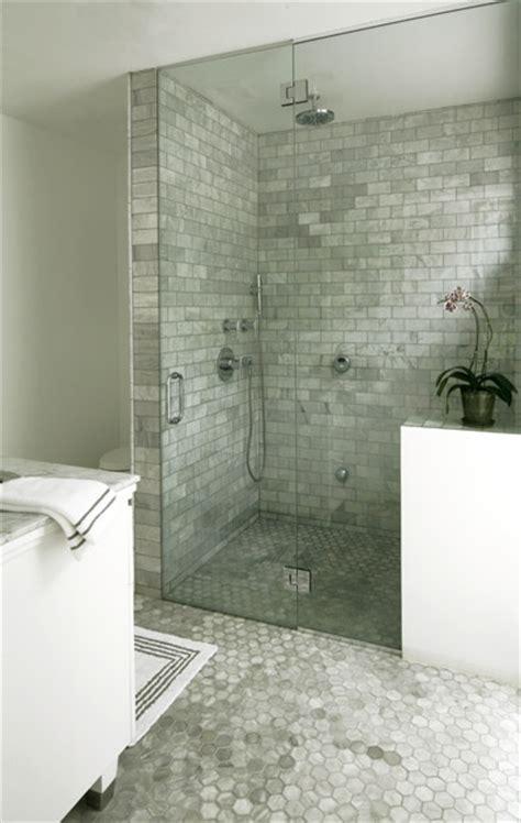 bianco carrara marble tiles transitional bathroom