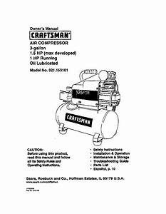 Craftsman 921153101 User Manual Air Compressor Manuals And