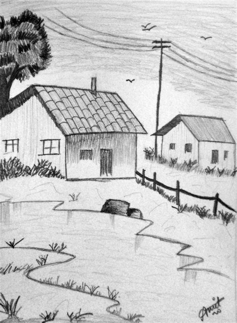 Easy Simple Pencil Landscape Drawings