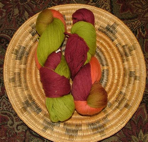 wool lace weight hand dyed yarn lot   green orange tan