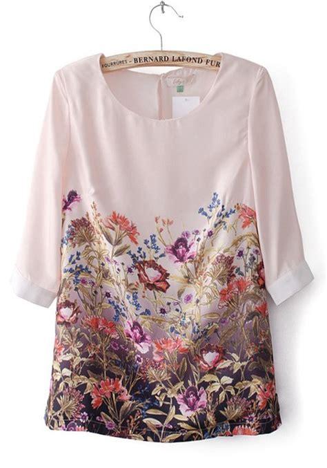 cotton blouses pink floral print neck cotton blouse blouses tops