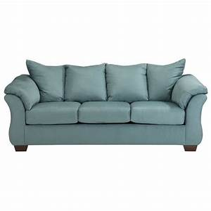 Ashley darcy fabric full size sleeper sofa in sky 7500636 for Darcy sectional sofa dimensions