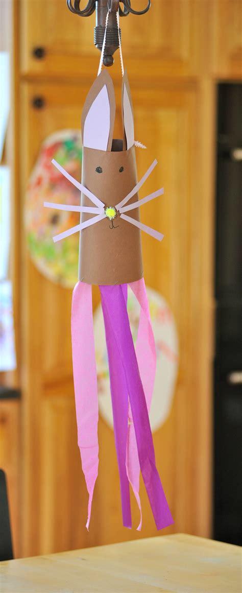 bunny windsock craft construction paper pom poms