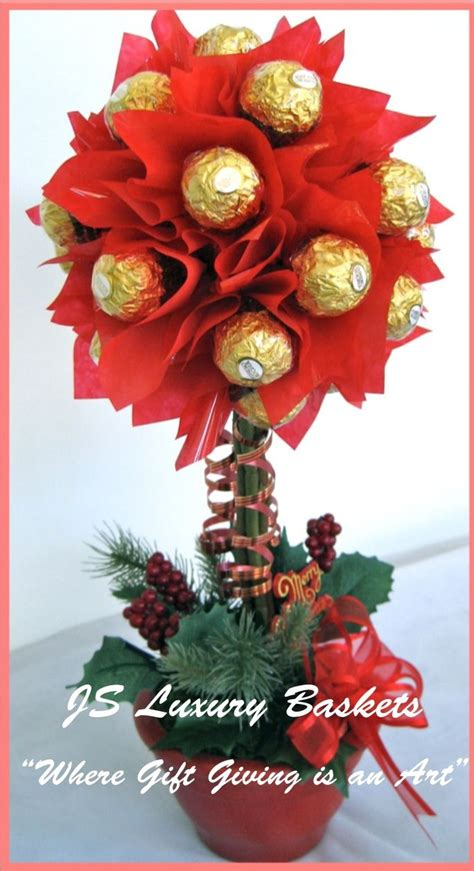 christmas topiary tree candy arrangement  candy