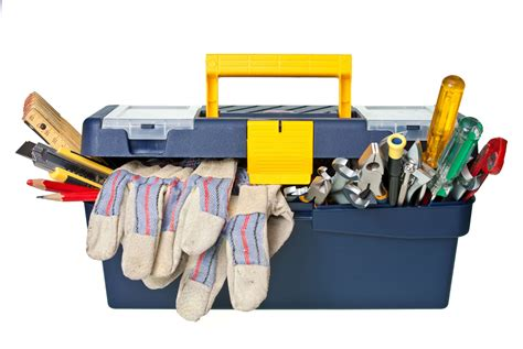 Tool box full of gloves, screwdrivers, a few pencils, and other assorted tools