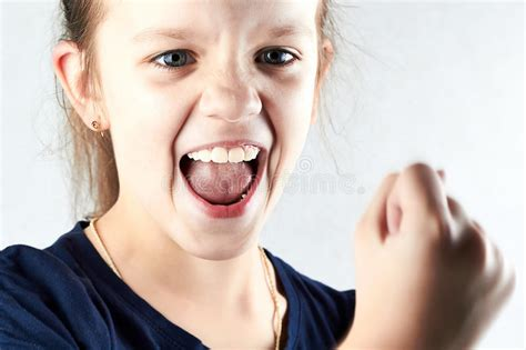 Angry Girl Screaming And Show Your Fist Stock Photo - Image of girl, beauty: 37850504