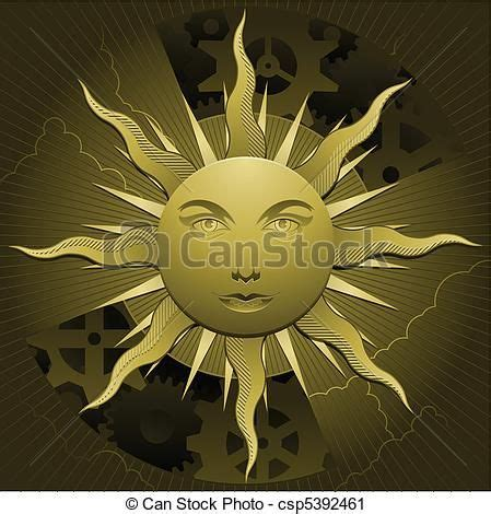 Vector Clip Art of Golden celestial sun and clouds with ...