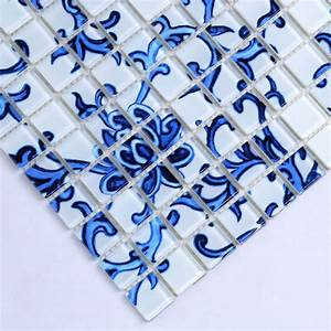 Crystal glass tile blue white puzzle mosaic tile crackle for White and blue tile backsplash